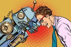 Many robots vs human, humanity and technology. Pop art retro vector vintage illustrations Stock Photo