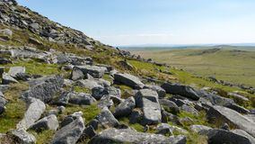 Many rocks litter Dartmoor. The landscape of Dartmoor in Cornwall and Devon, England Royalty Free Stock Photography