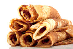 Many rolled pancakes Stock Photos