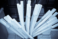 Many rolls of construction plans Royalty Free Stock Photos