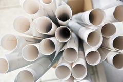 Many rolls of construction plans Stock Photo