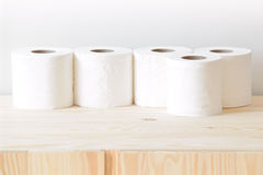 Many rolls of paper towel. On the cupboard at home royalty free stock photo