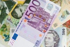 Many romanian leu high banknotes and 500 euro bill. Concept photo Stock Photo