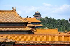 Many roofs. All painted in gold, Forbidden City, Biejing Royalty Free Stock Image