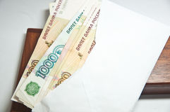 Many rouble bills (the biggest Russian note) Stock Image