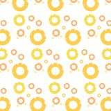 Many round pineapple slices are repeatedly combined into a seamless pattern. royalty free illustration