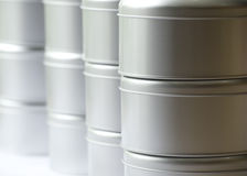 Many round tin boxes Royalty Free Stock Photos