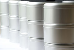 Many round tin boxes Royalty Free Stock Images