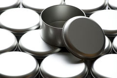 Many round tin boxes Royalty Free Stock Photography