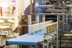 Many row of paper cup on automatic conveyor belt during manufacturing process in factory.  stock images