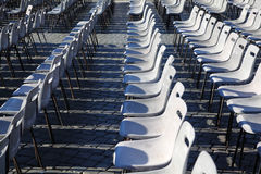 Many rows of gray chairs. Royalty Free Stock Image
