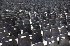 Many rows of gray chairs on Piazza San Pietro Stock Photos