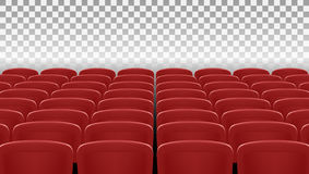 Many Rows Of Red Cinema Or Theater Seats Back View. EPS10 Vector Royalty Free Stock Photos