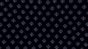 Many rows of small dodecahedrons frames swaying on black background, seamless loop. Animation. Transparent geometrical royalty free illustration