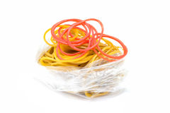 Many rubber bands in bag isolated. Royalty Free Stock Photo