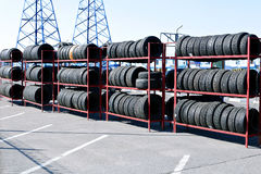 Many rubber tires on a rack Royalty Free Stock Images