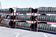 Many rubber tires on a rack Royalty Free Stock Photography