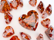Many ruby hearts. A lot ruby precious stone in the form of heart Royalty Free Stock Photography