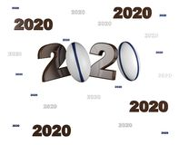 Many Rugby ball 2020 Designs. With a White Background vector illustration