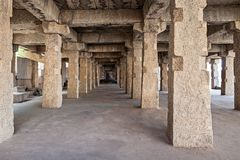 Ruined columns. Many ruined columns as a perspective objects Stock Images