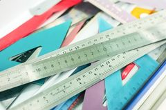 Many rulers for drawing. The many rulers for drawing royalty free stock photos