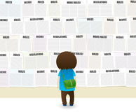 So Many Rules. Student looking at a school wall full of rules and regulations notes royalty free illustration
