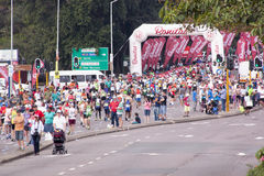 Many Runners and Spectators at Comrades Ultra Marathon Royalty Free Stock Image