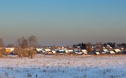 Many rural rooftops winter. Royalty Free Stock Photos