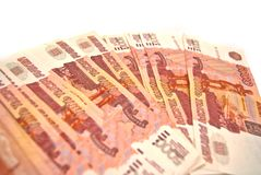 Many Russian banknotes Stock Photo