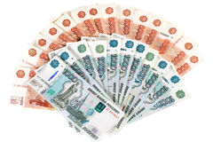 Many Russian banknotes. Many banknotes in red. Many Russian banknotes Royalty Free Stock Photos