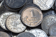Many Russian coins one copeck Stock Image