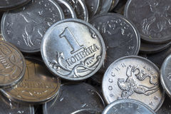 Many Russian coins one copeck Stock Photo
