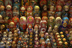Russian Matryoshka dolls in sarafan. Many Russian nesting dolls or every possible dimension Royalty Free Stock Photos