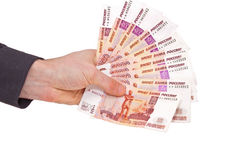 Russian rubles banknotes in a hand Stock Photography