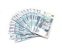 Many Russian rubles banknotes Royalty Free Stock Photos