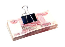 Many Russian thousands rubles banknotes isolated Stock Images