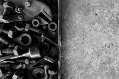 Free Many Rust Steel On Cement Ground In Black And White Photography Stock Photos - 159990723