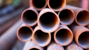 Many rusty pipes of Russian factory. HD. 1920x1080 stock video