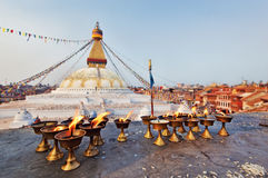 Many sacred candles in front of Boudha Nath stupa Royalty Free Stock Photos