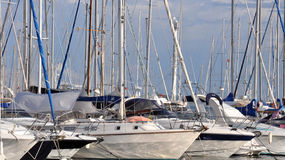 Many sailboats pleasure boaters Royalty Free Stock Photos