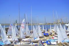 Many sailboats on quay,Burgas Stock Photo