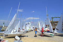 Many sailboats on quay Royalty Free Stock Photography