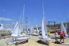 Many sailboats on quay Stock Image
