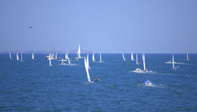 Many sailboats race,Burgas bay Royalty Free Stock Photography