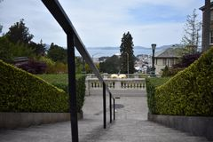 The top of the Lyon Street Steps looking towards San Francisco Bay and Marin beyond, 5. Many of San Francisco`s steps have very beautiful mosaics added to the royalty free stock image