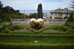 The top of the Lyon Street Steps looking towards San Francisco Bay and Marin beyond, 6. Many of San Francisco`s steps have very beautiful mosaics added to the royalty free stock photo
