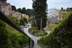 The top of the Lyon Street Steps looking towards San Francisco Bay and Marin beyond, 7. Many of San Francisco`s steps have very beautiful mosaics added to the stock photography