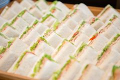 Many sandwiches on wooden tray royalty free stock photography