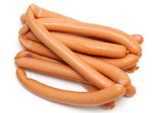 Many sausages on white Stock Photo