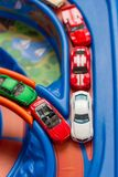 Scale model cars accident on the road. Traffic jam. Stupidity. Top view. Royalty Free Stock Image